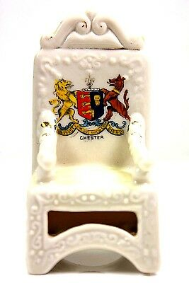 Vintage Crested China Chester Throne Chair British Art Pottery Ria Ltd Fenton