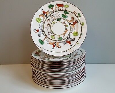"Dessert Or Pie Plates 7 1/8"" Crown Staffordshire Hunting Scene (16 Available)"
