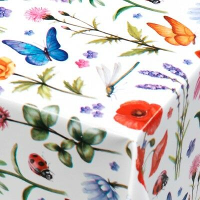 Pvc Vinyl Table Cloth Plain White Multi Butterflies Spring Floral Red Ladybirds