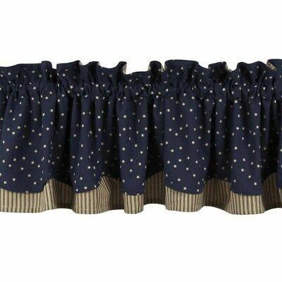 New Primitive Country Americana NAVY BLUE STARS STRIPED Layered Valance Curtain
