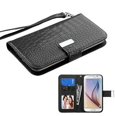 Universal Crocodile Leather Flip Credit Card Wallet Case Fits Most Mobil Phones