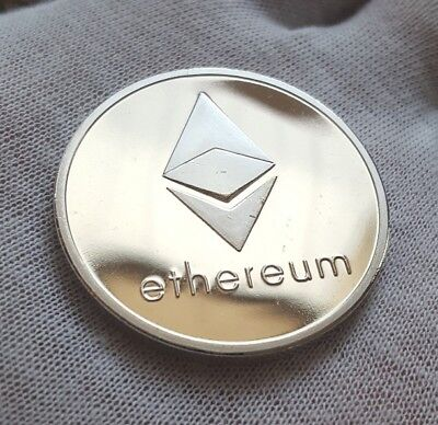BITCOIN! 1oz Silver Plated Physical Ethereum Proof Coin  FAST SHIP! USA Seller!