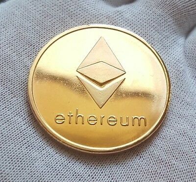 BITCOIN! 1oz Gold Plated Physical Ethereum Proof Coin - FAST SHIP! USA Seller!