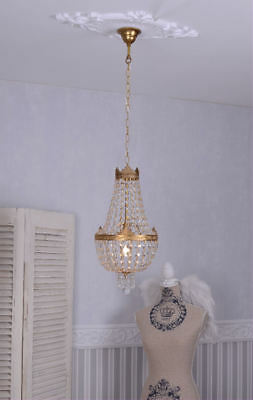 Crystal Chandelier Basket Chandeliers Ceiling Light Vintage Brass Shabby Chic