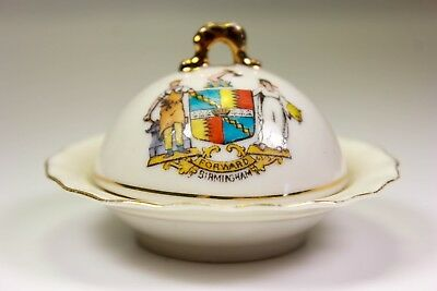 Vintage Crested China Birmingham Muffin Dish And Cover