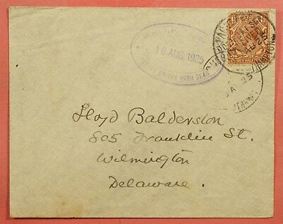 1925 Gb Single Franked Paquebot Ship To Usa Posted On The High Seas