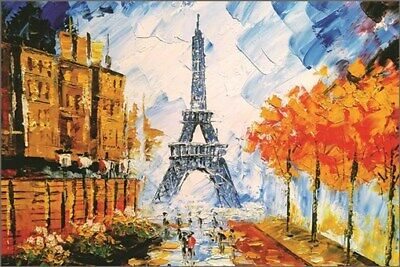 City of Paris, France colorful painting Poster 24x36 Great for wall decor
