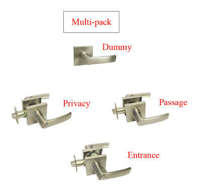 Multi-Pack Satin Nickel Square Door Lever Dummy/Passage/Privacy Keyed Entry