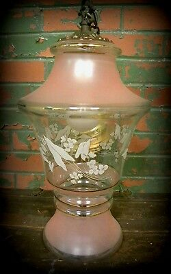 Art Deco pink glass hanging light, all glass