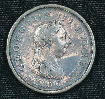 1806 Great Britain Large Penny King George III VF KM# 663