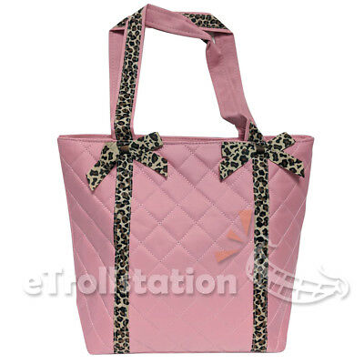 Stylish Girls Kids Nylon Pink Dance Tote Bag Quilted Leopard Pattern Bow Ribbons