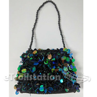 Stylish Little Girl's Dressy Sequined Purse Jazzy Dressup Small Bag Black Sequin