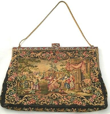 French black tapestry vintage purse think