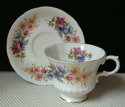 """Paragon """"FLOWER FESTIVAL"""" TEA CUP & SAUCER Fine Bone China Made in England"""
