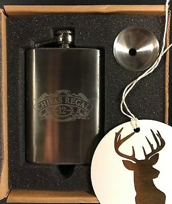 NEW GIFT SET CHIVAS REGAL 12 year old stainless steel 4 oz pocket flask w/funnel