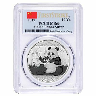 2017 ¥10 China Silver Panda 30g PCGS MS69 First Strike Flag Label*