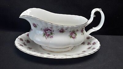 Royal Albert Sweet Violets Gravy Boat with Underplate