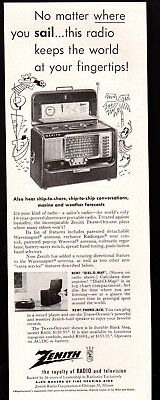 1955 Zenith Trans-Oceanic Short Wave Portable Radio Dial-O-Map Vintage Print Ad