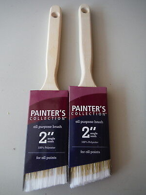 """NEW Lot of 2 Painter's Collection 2"""" Angle Sash Paint Brushes - All Purpose"""