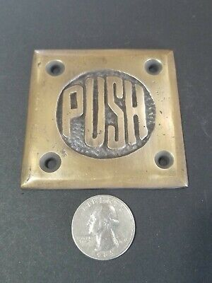 "Art Deco Door PUSH sign Rare Unique Antique solid brass 2 1/2"" #F9"