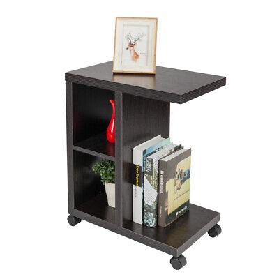 Rolling Accent Tables End Table With Storage Shelf Espresso Side Night  Stand Bed