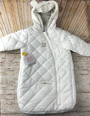 Carters 3 6 Months Baby Bunting Snow Suit White Quilted One Piece Winter New