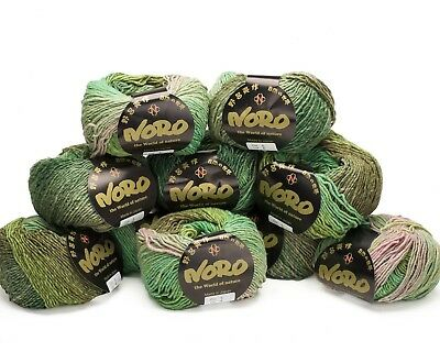 10 x 50g Green Mix Noro Shiro - shade 5 - 30%Cashmere, 30% Silk