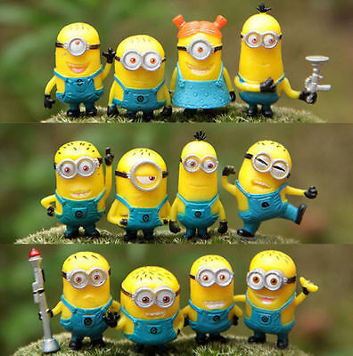 MINIONS - Despicable Me - Set of 12 Character Figurines / Cake Topper  ( NEW )