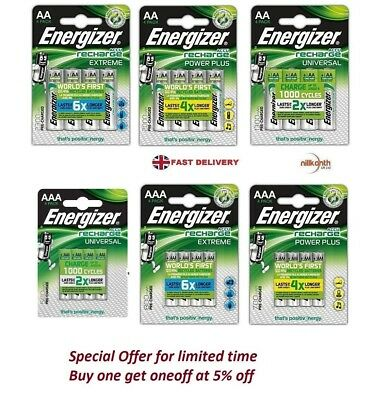 Energizer AA / AAA Rechargeable Batteries Ni-MH Technology 1 2 4 8 12 Battery