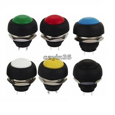 2/5Pcs 6 Colors 12mm Mini Round Switch Waterproof Momentary ON/OFF Push Button K