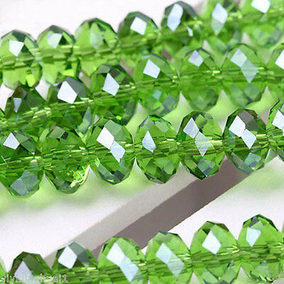 94-100 PCS , 4 X 6 mm Faceted Green Crystal Gemstone Abacus Loose Beads