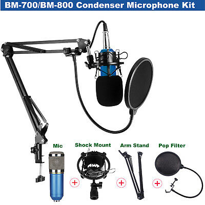 BM700 BM800 Broadcasting Condenser Microphone + Shock Mount + Arm Stand + Filter