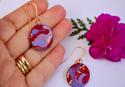 Handmade Polymer Clay Marbled Modern Round Oval Dangle Earrings Gold Plated Hook
