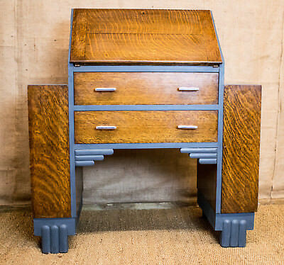 Art Deco fall front bureau, writing desk, part painted, fitted interior, shelves