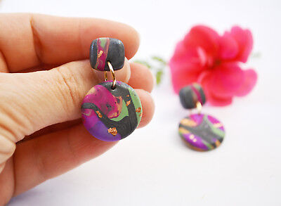 Handmade Polymer Clay Dangle Earrings Colourful Pink Grey Marbled Earring Studs