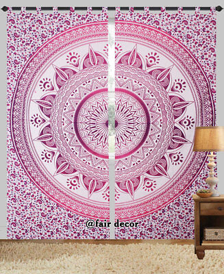 Indian Pink Ombre Mandala Room Door Wall Window Curtains Tapestry with Loops