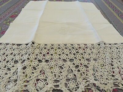 Antique Embroidered Monogram and Crochet Fine Linen Pillowcase Button Closure