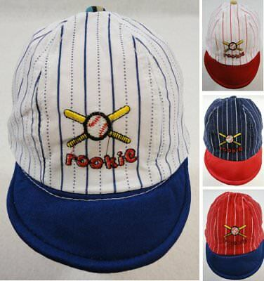 Infant Pinstripe Baseball Hat ROOKIE Baby Ball Cap Multiple Colors New!