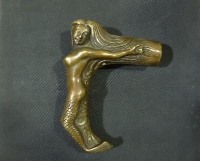 China Old Bronze Handmade Carved belle Collect Mermaid Statue Walking Stick Head