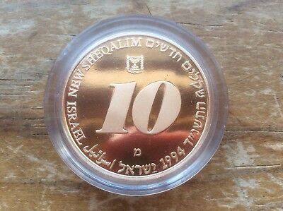1994 Israel Gold 10 New Sheqalim proof in original mint capsule @@ must see@@