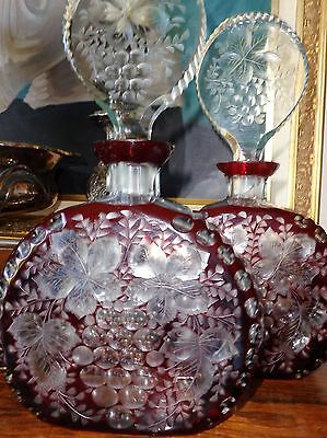 ANTIQUE c1860 PAIR CRYSTAL PORT WINE DECANTERS RED CUT TO CLEAR LOLLYPOP STOPPER