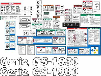 Genie GS1930 Scissor Lift Decal Kit. The most complete aftermarket kit available
