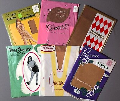 AUTHENTIC VINTAGE STOCKINGS, Seamless, Flat Knit, Mesh 6 pair Size 8 1/2  NOS