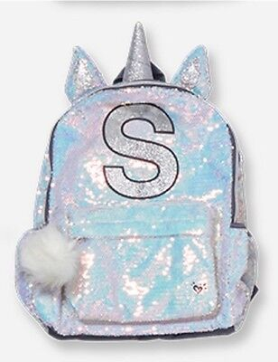 Pink /& White Ombré Flip Sequin Backpack Initial S NWT Justice Silver