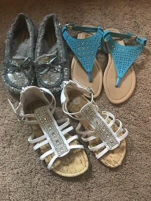 Lot Of Girls Sz 1 Sandals And Shoes