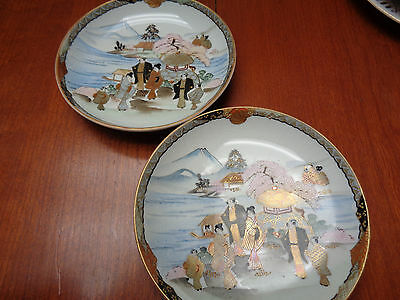 Vintage Japanese Shallow Saucers with Moriage and Famille characteristics - 6 in