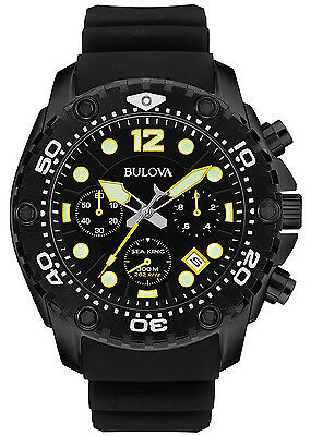 Bulova 98B243 Sea King Black Dial Black Rubber Strap Chronograph Men's Watch
