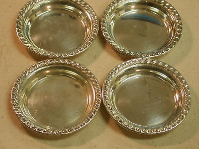 Sterling Silver set of 4 -  3.75 inch scalloped edge Miniature Bowls chargers