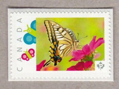 BUTTERFLY ON RED FLOWER, Picture Postage MNH stamp Canada 2016 [p16/04-2bf6/4]