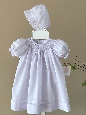 Petit Ami - PREEMIE - Smocked Purple *VOILE  INSET* Daygown & Bonnet - NWT